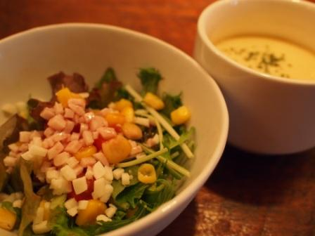 渋谷うさぎ-ランチのサラダとスープ