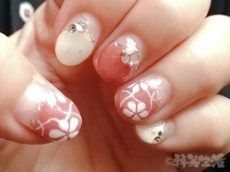 秋ネイル 花ネイル ピンクネイル