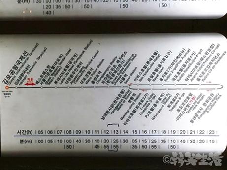 金浦空港 リムジン 時刻表 6021